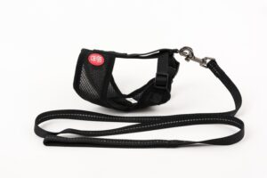 Mini Soft Harness for Cats with Velcro Black with Leash