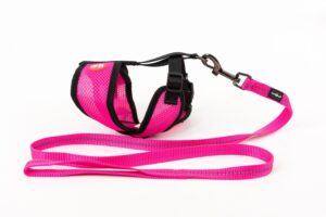 Mini Soft Harness for Cats with Velcro Hot Pink with Leash