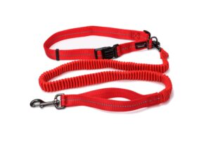 Reflective Supersoft Webbing Bungee Running Leash Red